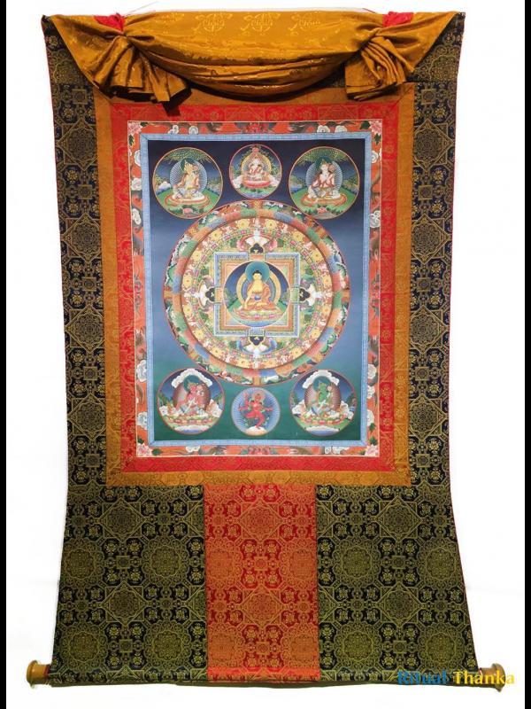 Old Shakyamuni Buddha Mandala with brocade mounted