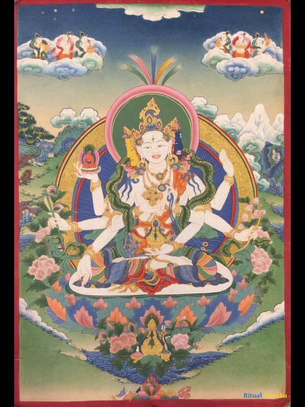 Namgyalma,Ushnishavijaya  vintage old thangka of the long life deity