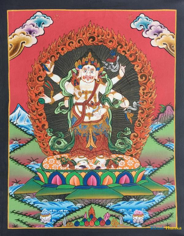 Six Armed Mahakala 24 Carat Gold Original Hand Painted Acrylic Color On Cotton Canvas 86x60 cm Full Size With Brocade
