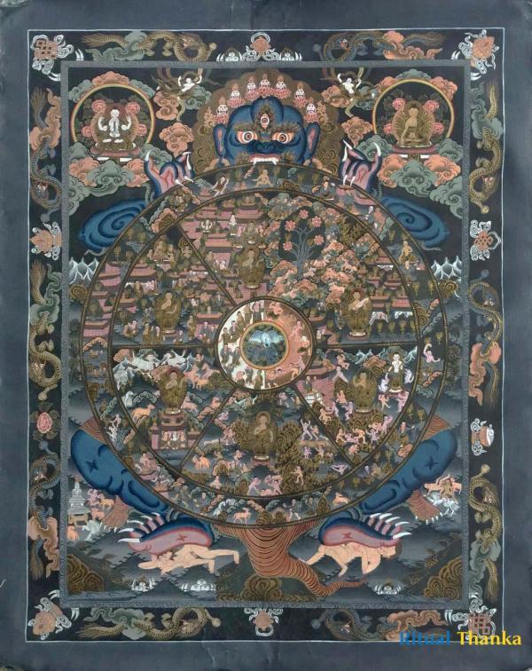 Dark Wheel of Life Thangka