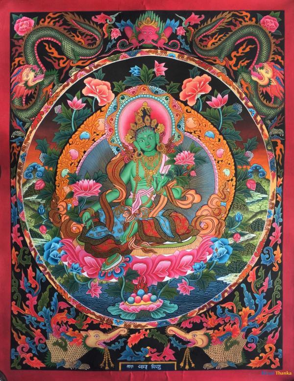 Green Tara Thangka (Newari Style)
