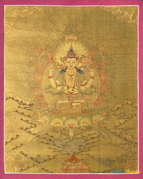 Chenrezig | Avalokiteshvara Full Gold  Thanka