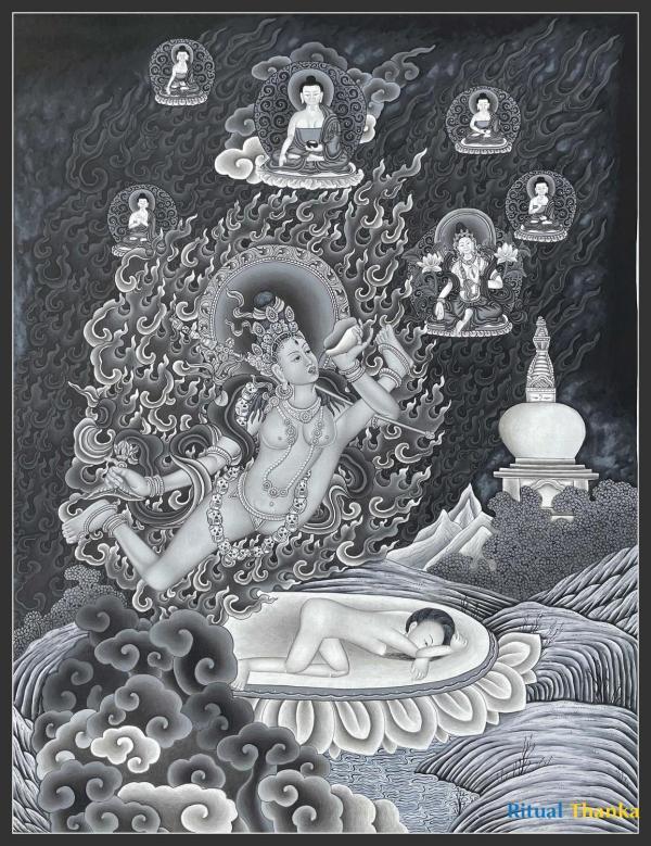 Aakash Yogini or Vidyadhari visualized by siddhas such as Maitripa in Black and white nevari style Thangka