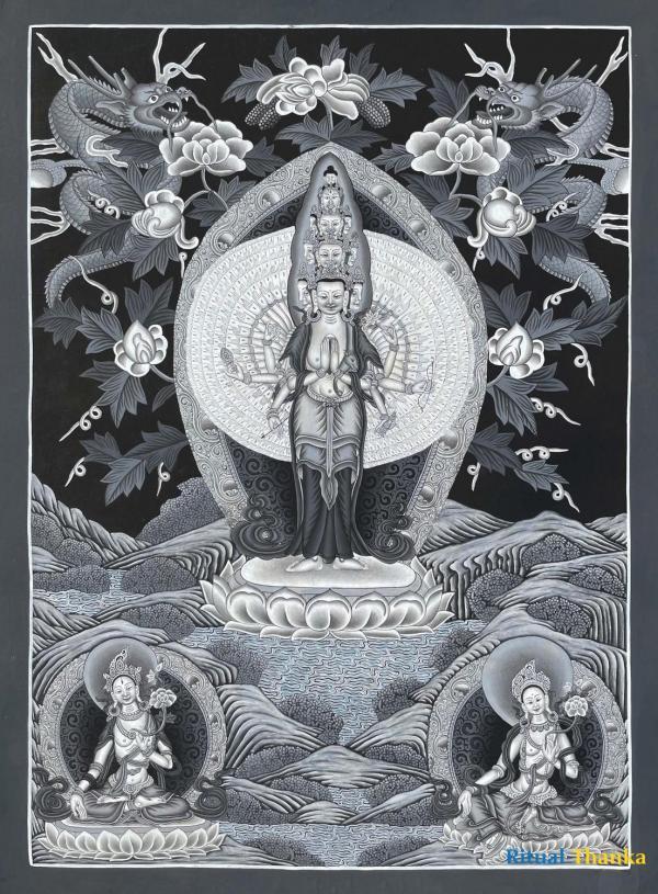 Lokeshvara Black & White Newari Style Thangka