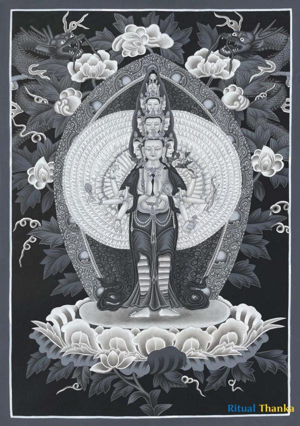 Black and White 1000 armed Chengrezig Thangka in Newari Style Thangka