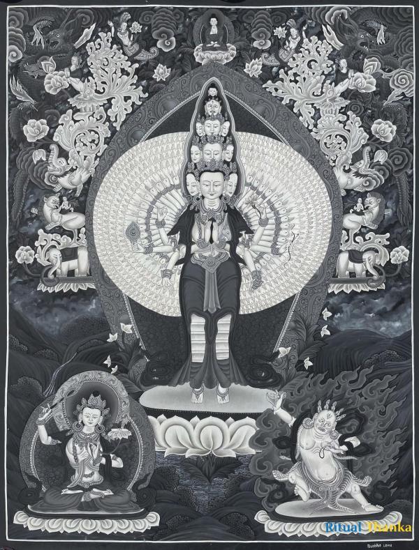Black and White 1000 armed Chengrezig flanked by Manjushree and Vajrapani Thangka