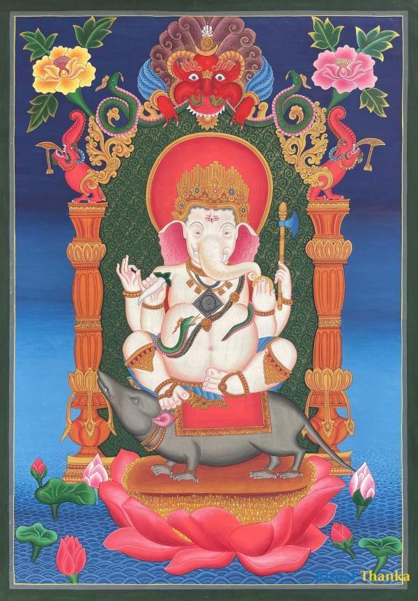 Newari Style Ganesh Thangka
