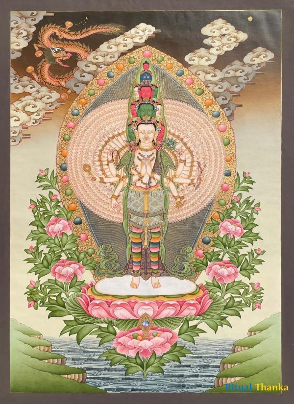Lokeshvara Thangka Popularly known as Avalokiteshvara or Chenrezig Thangka