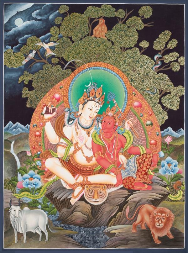 Mahadev Parvati, newari thangka