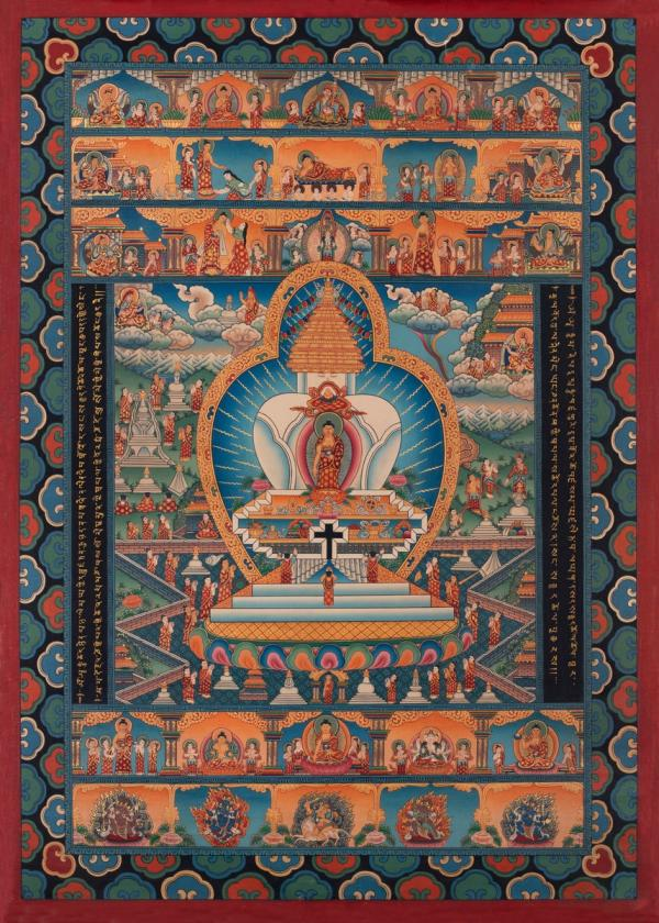 Hand-painted Stupa Thangka with various buddha's life events