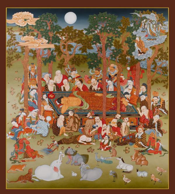 Masterpiece thangka of Buddha Going in to Parinirvana