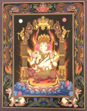 4 armed sitting Ganesh in Newari style with dragon motifs