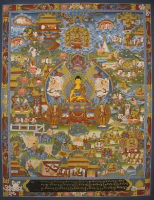 Dragon border Buddha Life Story with Grey color tone
