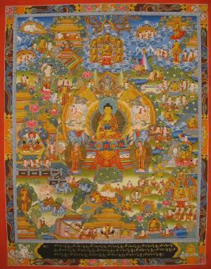 Buddha Life Story with the dragon motif border