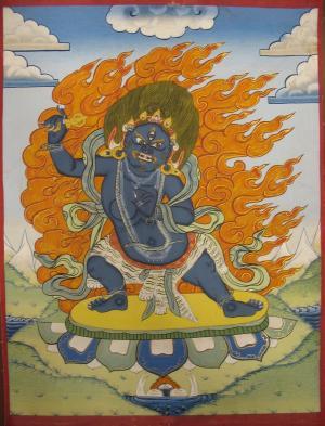 Old Small sized thangka of Boddhisattva Vajrapani with beautiful colors