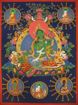 Green Tara with the cosmic buddhas