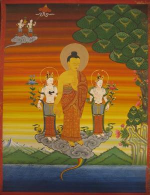 Standing Buddha with boddhisattvas