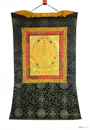 All Gold style 1000 armed chengrezig with brocade mounted