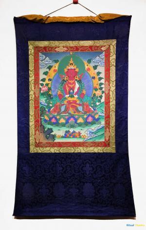 Brocade mounted medium sized Amitayus Buddha the Long life giver