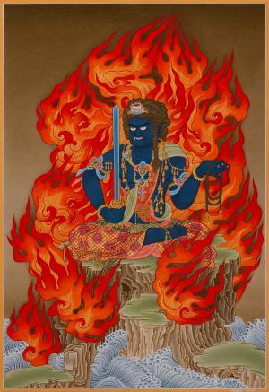 Kukoju- detailed painted Japanese Thangka known as Achala