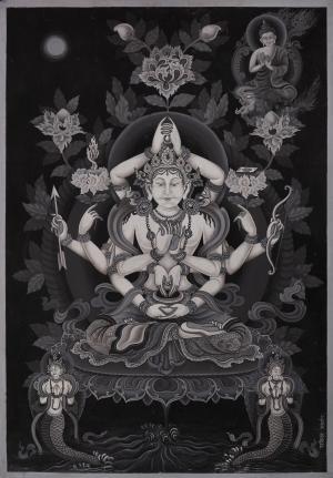Arya Manjushree Namsangiti the Boddhisattva who helps you develop Buddha Nature Thangka