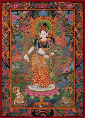 Vintage/Old Traditional Hand-painted Newari Style Padmapani Lokeshvara with vibrant colors
