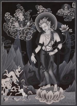 Padmapani Lokeshwor Newari Style Thangka