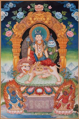 Lokeshwara riding a lion or Simhanada lokeshwara,newari thangka