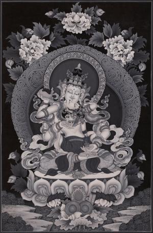 Vajrasattva Yab Yum in Newari Style,Newari thangka