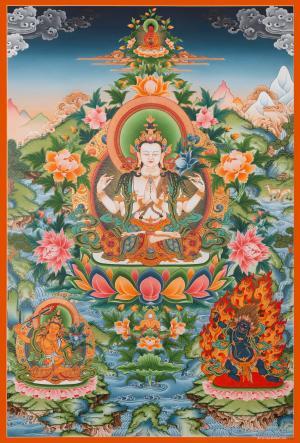 Lokeshvara with Boddhisattvas Thangka