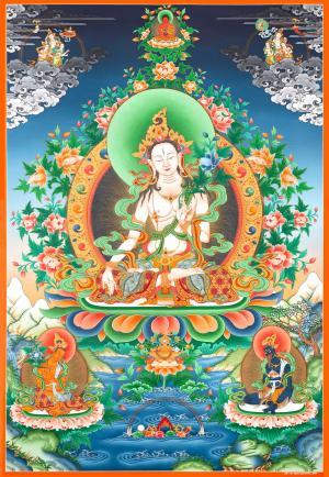 Original Hand-painted traditional style White Tara with Boddhisattvas Thangka