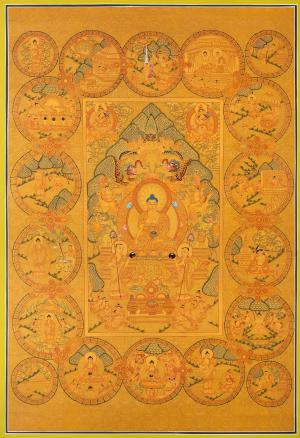 All Gold style Buddha Life Story depicted inside 18 circles