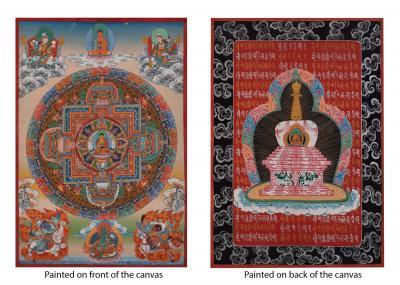 Very old unique Shakyamuni Buddha Mandala painted on both sides