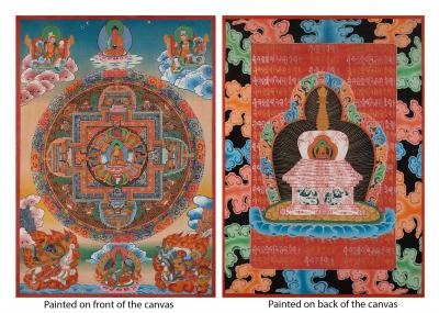 Shakyamuni Mandala thangka painted on both sides