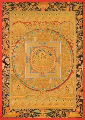 Fine Quality GoldenWhite Tara mandala Thangka with Dragon border