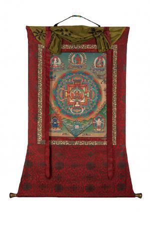 Buddha mandala with silk brocade