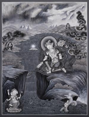 Boddhisattva Manjushree creating Kathmandu Valley with the self born light Swayambhu Thangka