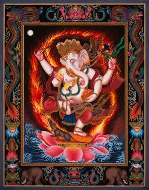 4 armed standing Ganesha in Nevari Style with naga motifs,Newari thangka