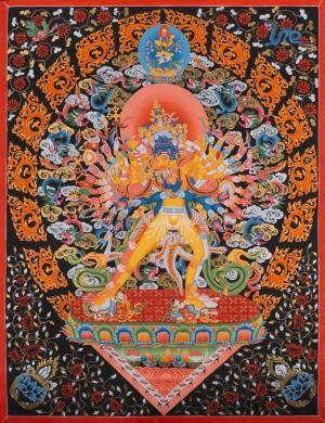 Super Fine Quality Kalachakara Deity with his Consort Vishvamata Thangka