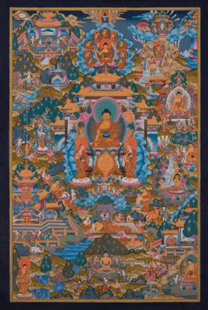 Fine quality brightly colored Buddha Life Story