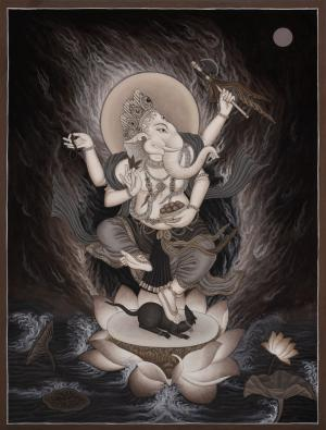 Black and white Newari Ganesh Thangka