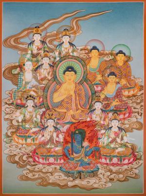 The 13 buddhas of the Shingon school Janpanese style thanka