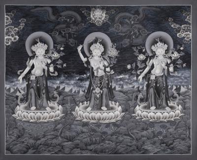 Black and White manjushree,green tara and white tara thangka in newari style Thangka