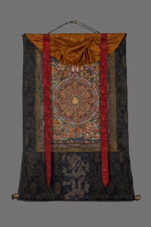 Original hand painted Shakyamuni mandala thangka with brocade