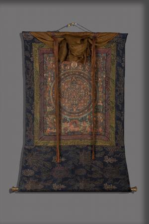 Original Vintage  hand painted Mandala thanka with brocade