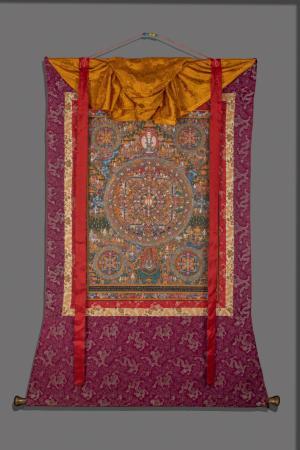 Original Vintage hand painted Lokeshvara Mandala thanka with brocade