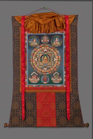 Original Vintage hand painted Round Buddha Mandala thanka with brocade